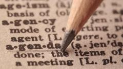 Agenda - Fake dictionary definition of the word with pencil underline Stock Footage
