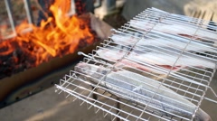 Grill basket with fish against brazier full of burning coals. Stock Footage