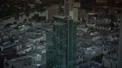 Frankfurt Main Aerial View Skyline Corporate Skyscrapers Stock Footage