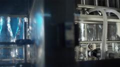 Milk factory bottling milk in glass bottles 12 1 Stock Footage