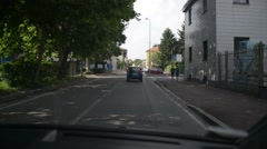 Driving car in the street of suburb of Milan. Italy Stock Footage