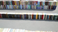 Maze constructed of books that were written off from libraries Stock Footage