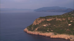 Stock Video Footage of AERIAL Italy-Coastline At Sunset