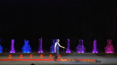 Girl and dogs showing their skills on the stage Stock Footage