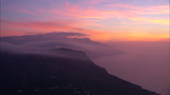 AERIAL Italy-Dawn Over The Amalfi Coast Stock Footage