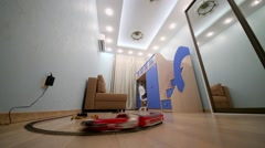 Children room decorated in blue tones with toy train that runs Stock Footage