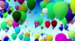 Balloons in various colors on blue - stock footage