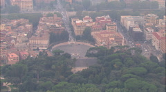 AERIAL Italy-Piazza Del Popolo And Northern Gate Stock Footage