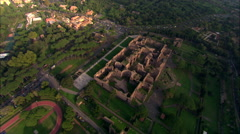AERIAL Italy-Baths Of Caracalla Stock Footage