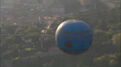 AERIAL Italy-Tethered Balloon In Villa Borghese Garden Stock Footage