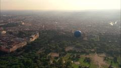 AERIAL Italy-Tethered Balloon In Villa Borghese Garden Stock Footage