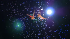 Child Aerial Performers Spinning in Air Stock Footage