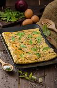 Oven baked omelet Stock Photos