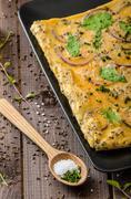 Oven baked omelet - stock photo
