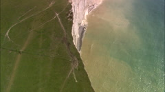 AERIAL United Kingdom-Seven Sisters White Cliffs Stock Footage