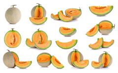 Collection cantaloupe melon fruit isolated on the white background Stock Photos