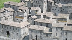 Ancient medieval Italian town in the park of miniatures Leolandia Stock Footage