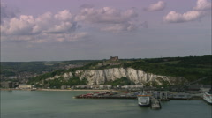 AERIAL United Kingdom-Dover Castle Stock Footage