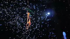 Impressive Circus Act of Little Aerial Performers - stock footage