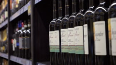 Row of alcoholic drinks in the store Stock Footage