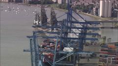 AERIAL United Kingdom-Tilbury Docks And Thames Estuary Stock Footage