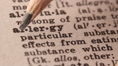 Allergy - Fake dictionary definition of the word with pencil underline Stock Footage