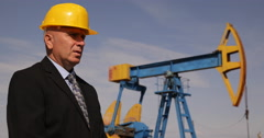 Oil Extracting Company Representative Manager Talking Environmental Pollution Stock Footage