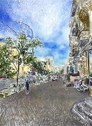 Original digital drawing of Kyiv city street Piirros