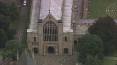 AERIAL United Kingdom-Norwich Cathedral Stock Footage