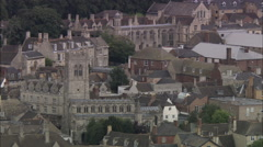 AERIAL United Kingdom-Stamford With 18Th C Coaching Inn Stock Footage