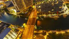 Day to Night time-lapse  over the Brickell Bridge Stock Footage