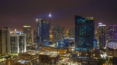 Brickell City Center Construction site at night 4K Stock Footage
