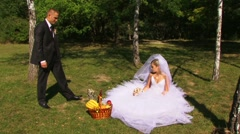 Newlyweds Relax In Nature Stock Footage