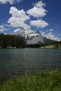 Cascade Mountain with Johnson Lake mountain lake at the front Banff National - stock photo