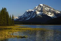 Stock Photo of Matt Patterson and Waterfowl Lake in the evening light Banff National Park
