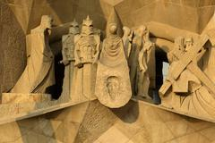 Facade detail Sagrada Familia by architect Antoni Gaudi Barcelona - stock photo