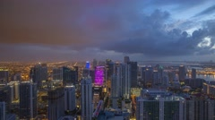 Perfect night to day transition time-lapse from a high-rise in Miami 4K time-lap Stock Footage