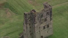 AERIAL United Kingdom-Ashby-De-La-Zouche Castle Stock Footage