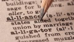 Alliance - Fake dictionary definition of the word with pencil underline Stock Footage