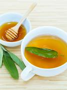 A cup of sage tea with fresh sage and honey. Stock Photos