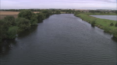 AERIAL United Kingdom-River Trent North Of Newark Stock Footage