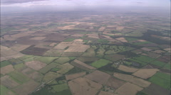 AERIAL United Kingdom-Field Patterns Over Lincolnshire Wolds Stock Footage