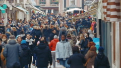 Crowded Shopping Street in Venice, Italy Stock Footage