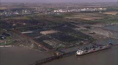 AERIAL United Kingdom-Immingham Oil Refinery Stock Footage