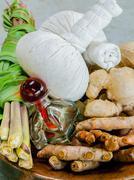 Authentic thai spa therapy ingredients. Stock Photos