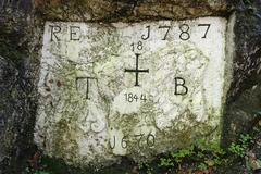 Stock Photo of Historic boundary stone between Bavaria and Tyrol near Kiefersfelden Inn Valley