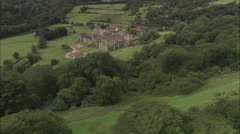 AERIAL United Kingdom-Rievaulx Terrace Landscape With Temple And Banqueting Stock Footage