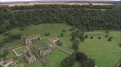 AERIAL United Kingdom-Reivaulx Abbey Stock Footage