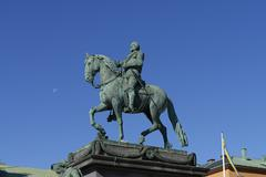 Statue of Gustav II Adolf Gustav Adolfs Torg Norrmalm Stockholm Sweden Europe Stock Photos