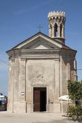 St Clement or Our Lady of Health Church and lighthouse Piran Istria Slovenia Stock Photos